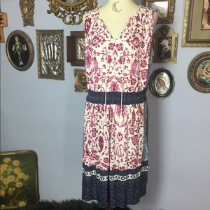Lucky Brand Bohemian Floral Gypsy Midi Dress 1X